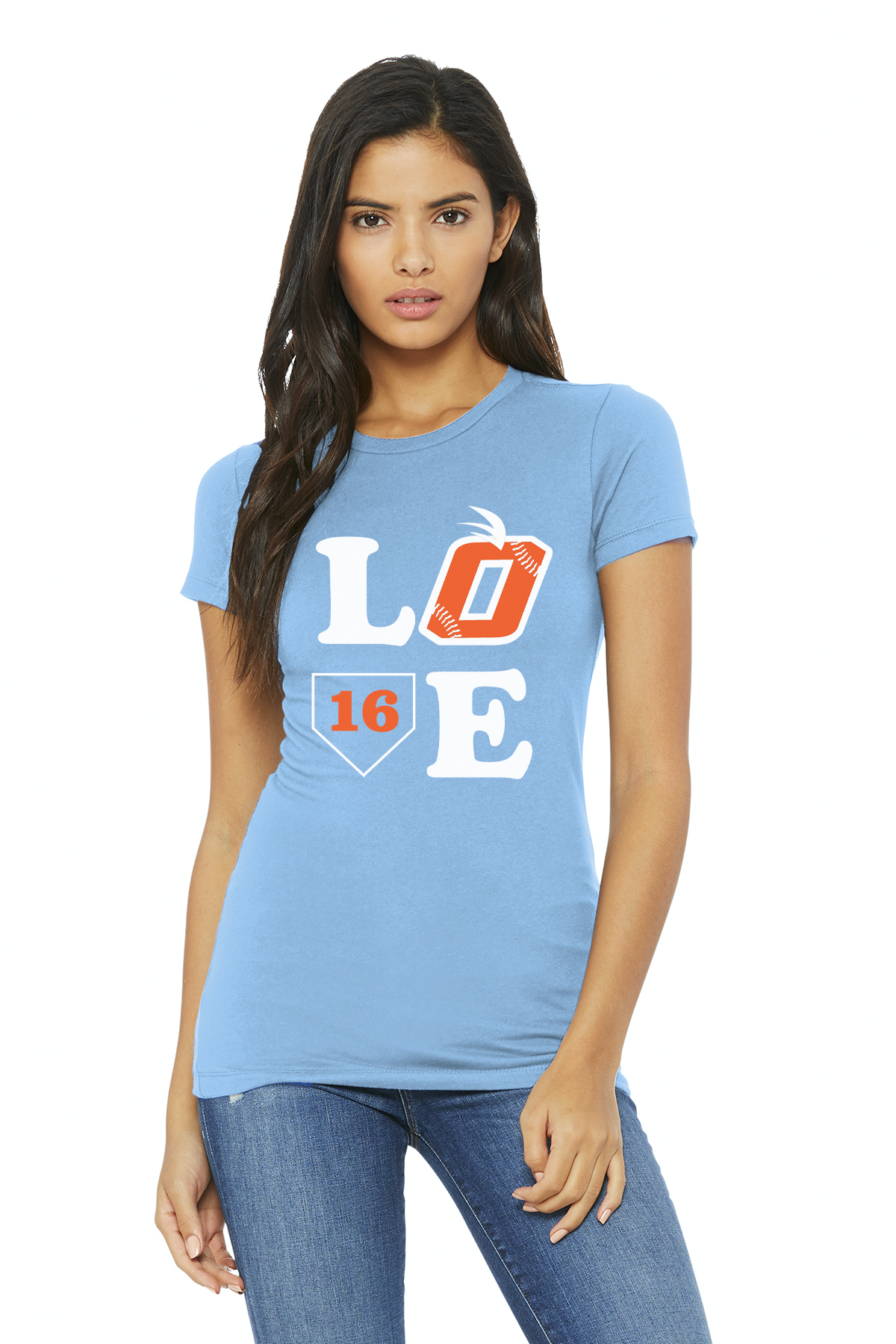 Orange LOVE Bella Canvas Womens SS Favorite Tee (Blue)
