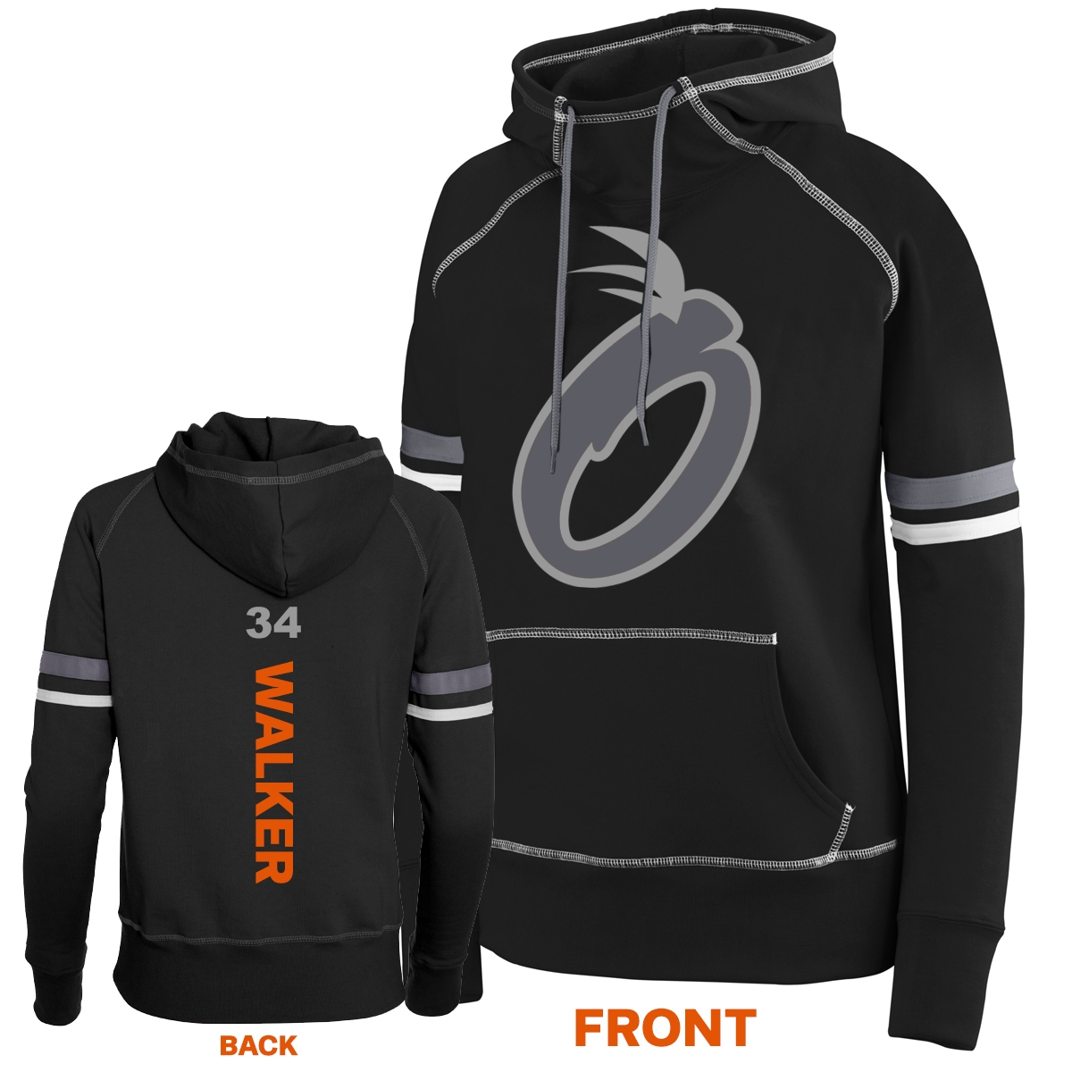 2021 Ladies Orange Shadow Hoodie (Black/Grey)