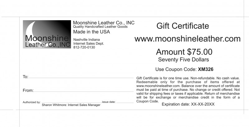 Moonshine Leather Company  Gift Certificates