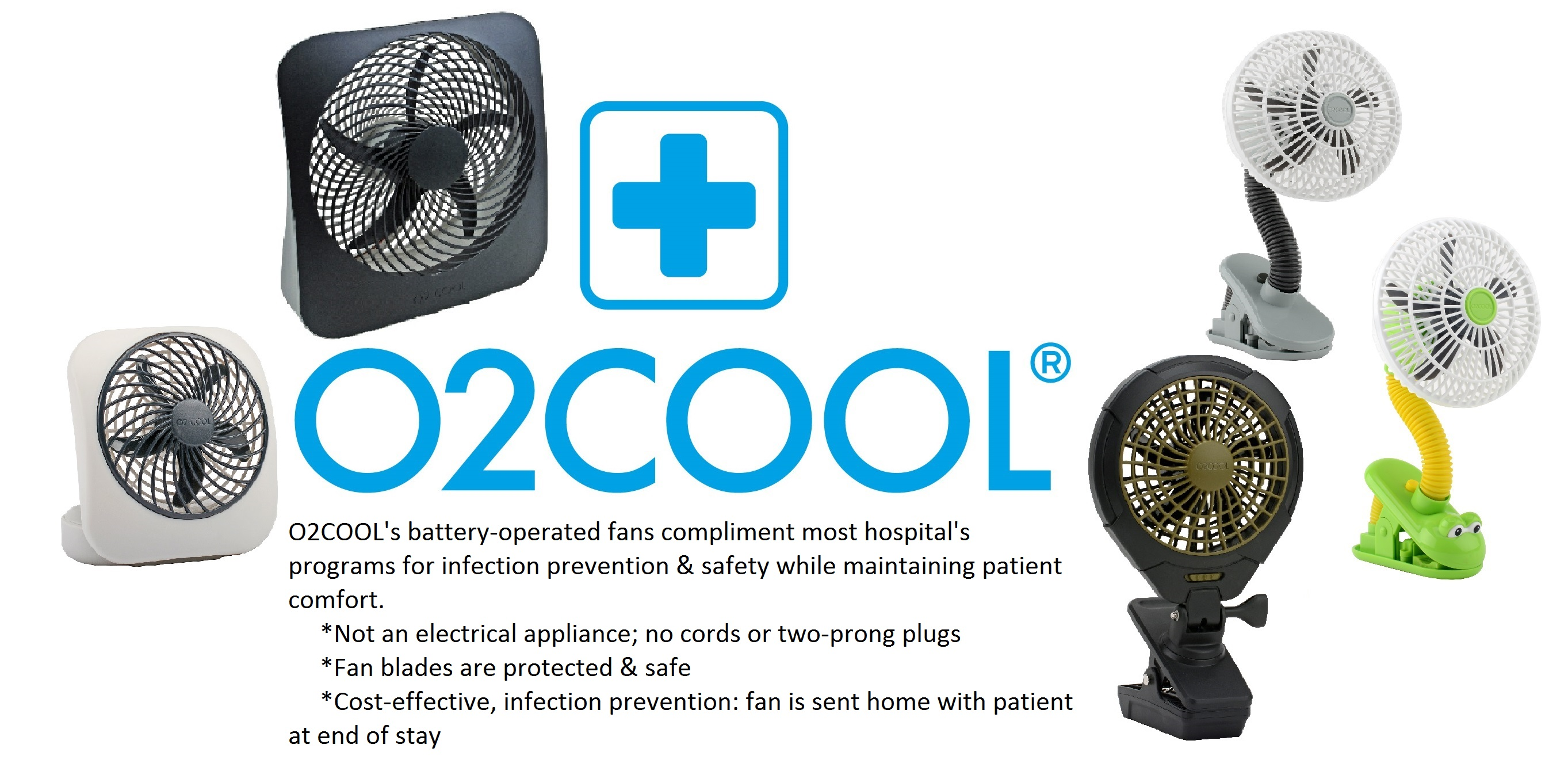 Healthcare Battery Operated Fans by O2 Cool