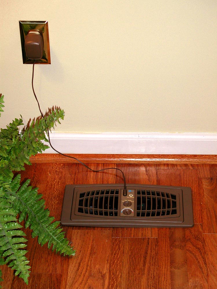 AirFlow Breeze Register Booster Fan (4&amp;#34; x 12&amp;#34;) Brown Floor Mount