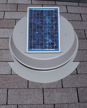 Solar Attic Fan Mounted on Roof