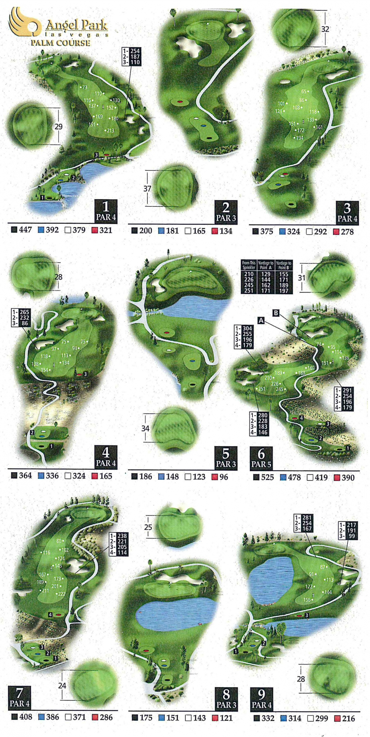 Angel Park Golf Club - Palm Course on golf course layout maps, golf green maps, golf courses map of us, golf yardage book,