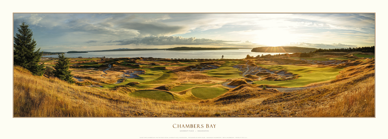 Sunset over Chambers Bay and the Puget Sound