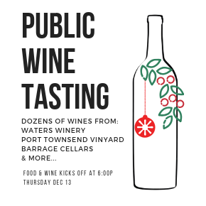 Public Wine Tasting at Chambers Bay Grill December 13th, 2018