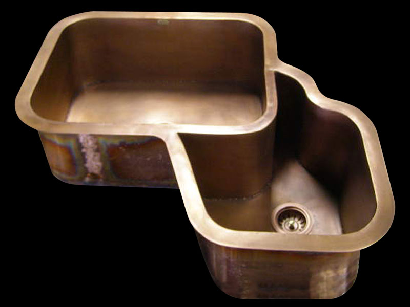 Copper Corner Sink : Copper Sinks by Circle City Copperworks - Custom Copper Sinks