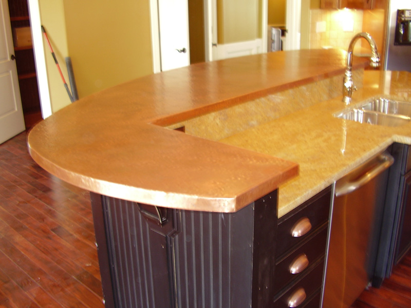 Copper bar tops kitchen bath bar circle city Copper countertops cost