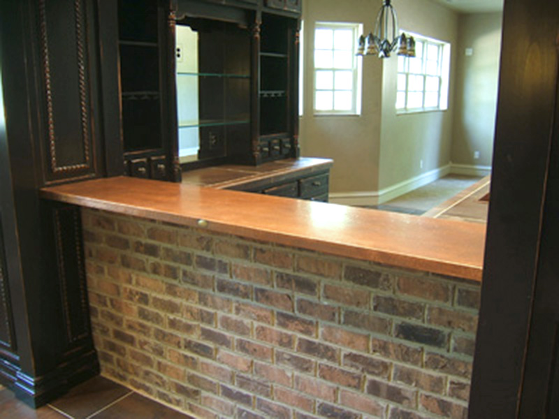 home bar with copper top
