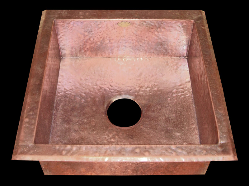 Hammered Copper Square Drop In Bar Sink (sold For $650)
