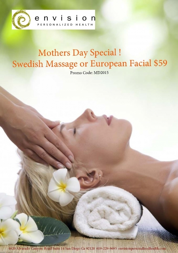 Give us a call or book online using promo code MD2015 upgrade to Therapeutic  Massage or Specialty Facial for only $10 more