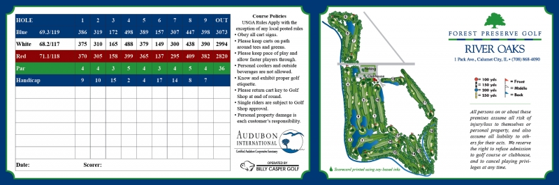 River Oaks Scorecard Front