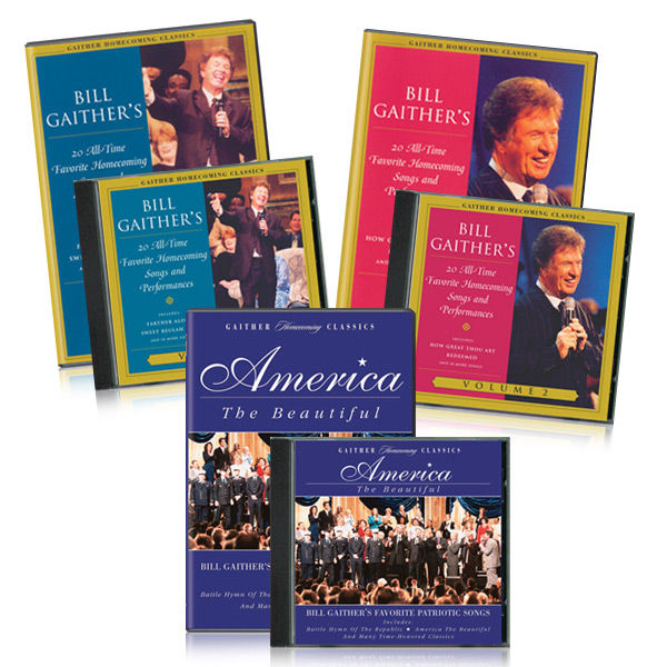 Gaither Homecoming Classics Vol 1, 2 and America The Beautiful DVDs & CDs