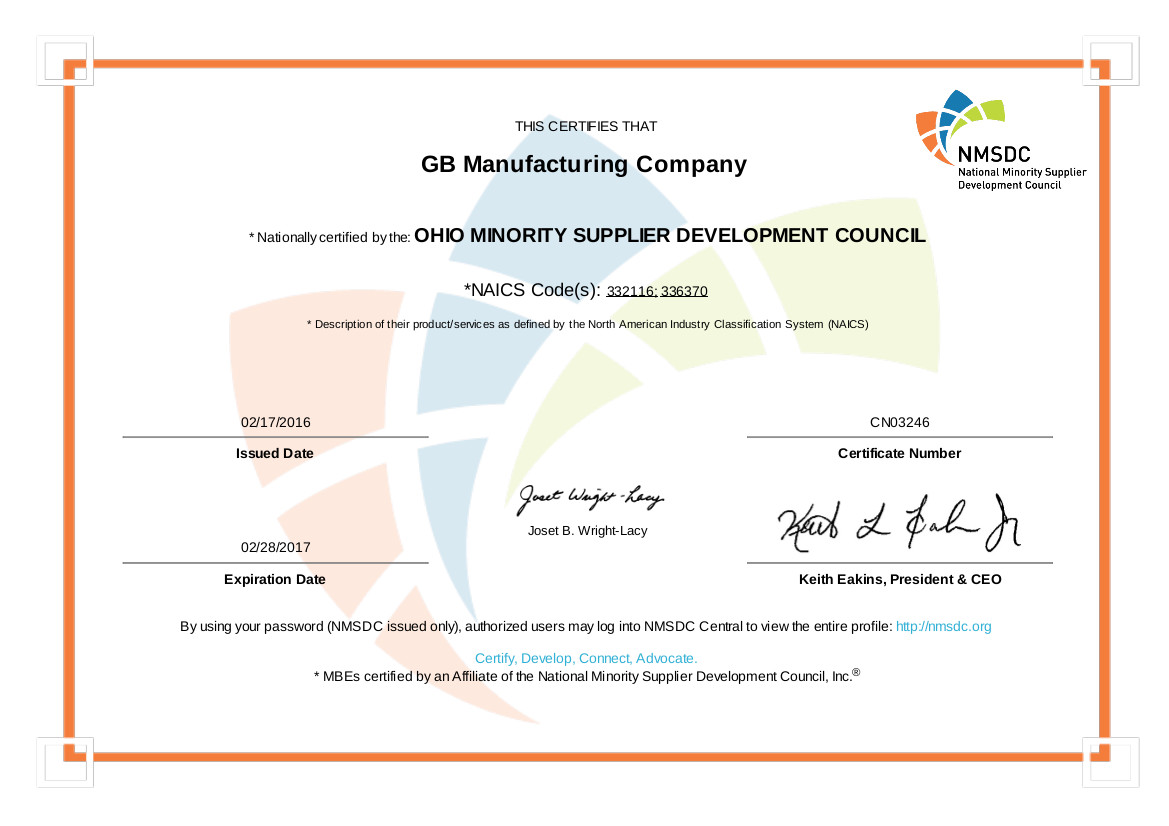 Fabrication & Machining | Certifications | GB Manufacturing