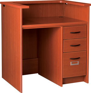 """42"""" Wide Single Pedestal Desk Station With Patron Ledge and Right Hand Drawers with Locks"""
