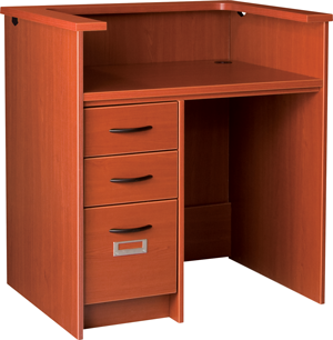 """42"""" Wide Single Pedestal Desk Station With Patron Ledge and Left Hand Drawers with Locks"""
