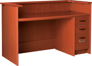 """60"""" Wide Single Pedestal Desk Station With Patron Ledge and Right Hand Drawers with Locks"""