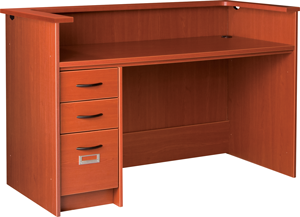 """60"""" Wide Single Pedestal Desk Station With Patron Ledge and Left Hand Drawers with Locks"""