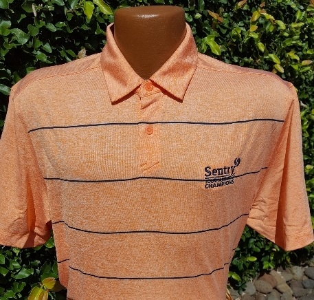 Under Armour Sentry TOC Polo - Orange with Navy pinstripes