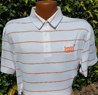 Under Armour Sentry TOC Polo - White with Orange, Navy pinstripes