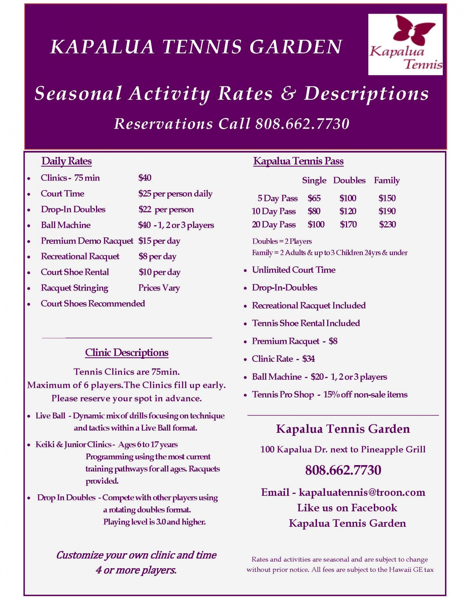tennis rates - Garden By The Bay Fee