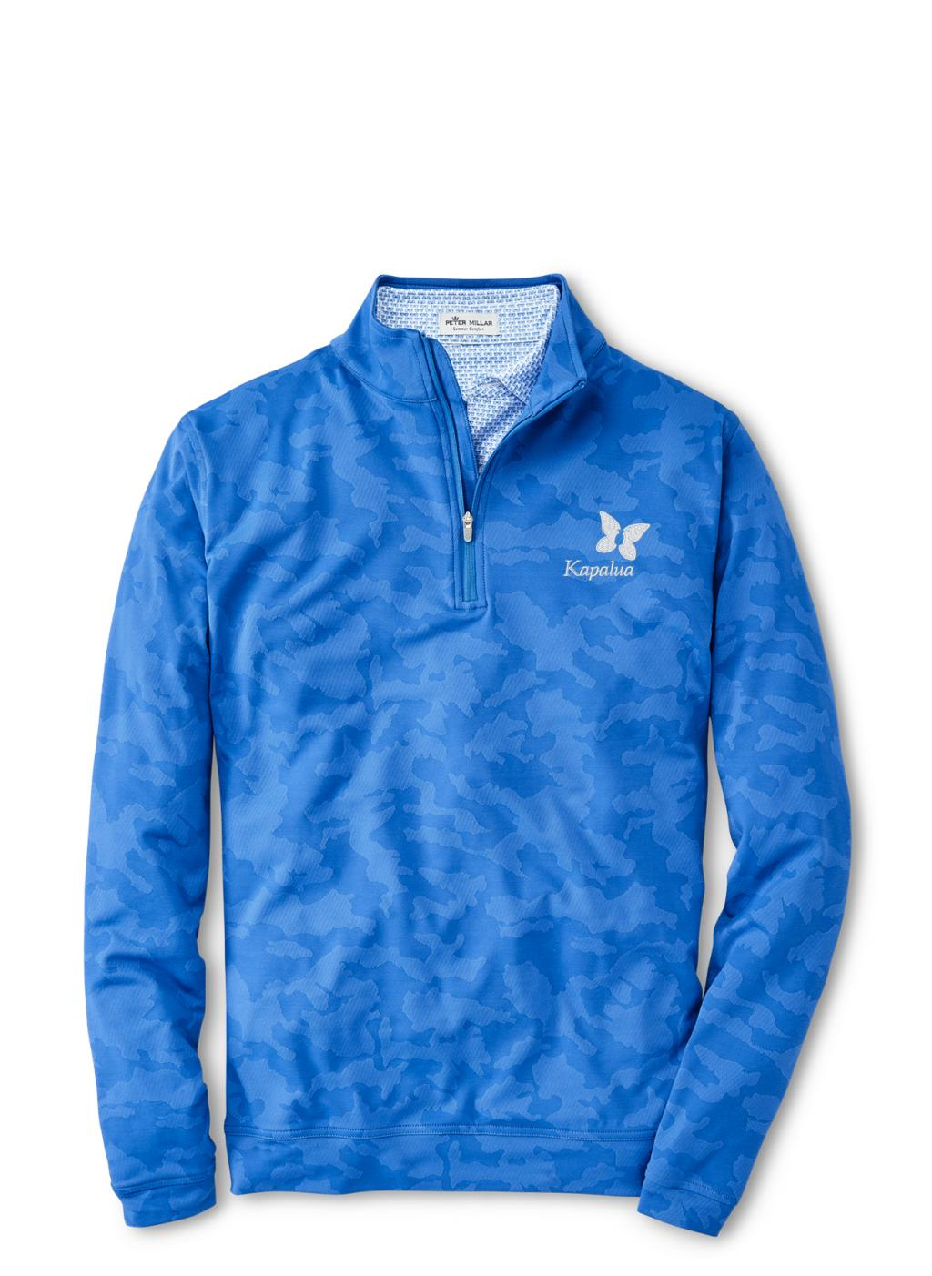 Peter Millar Perth Camo Performance Quarter Zip - Cape Blue