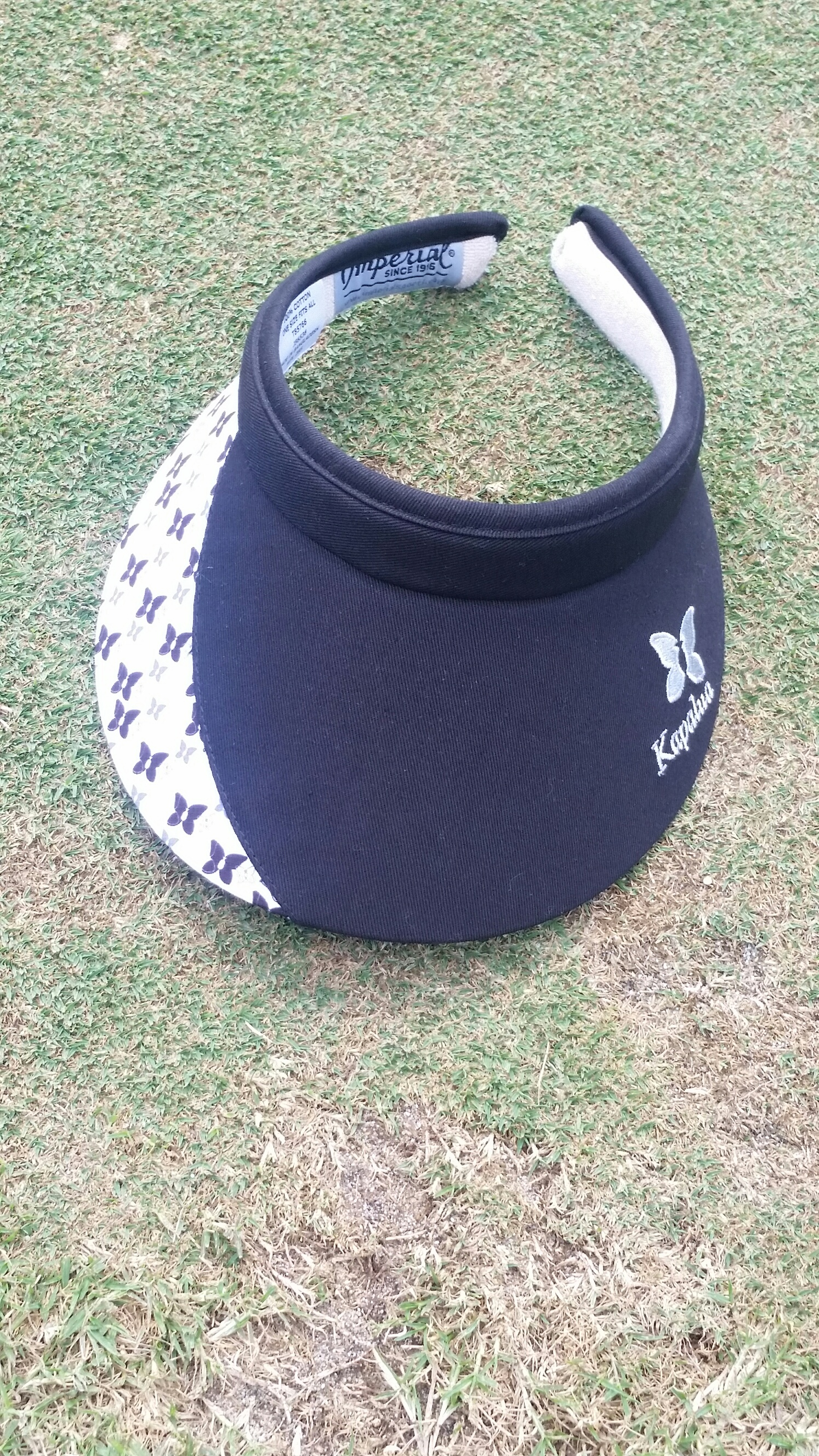 Womens Imperial Kapalua Visor - Black with Butterfly pattern