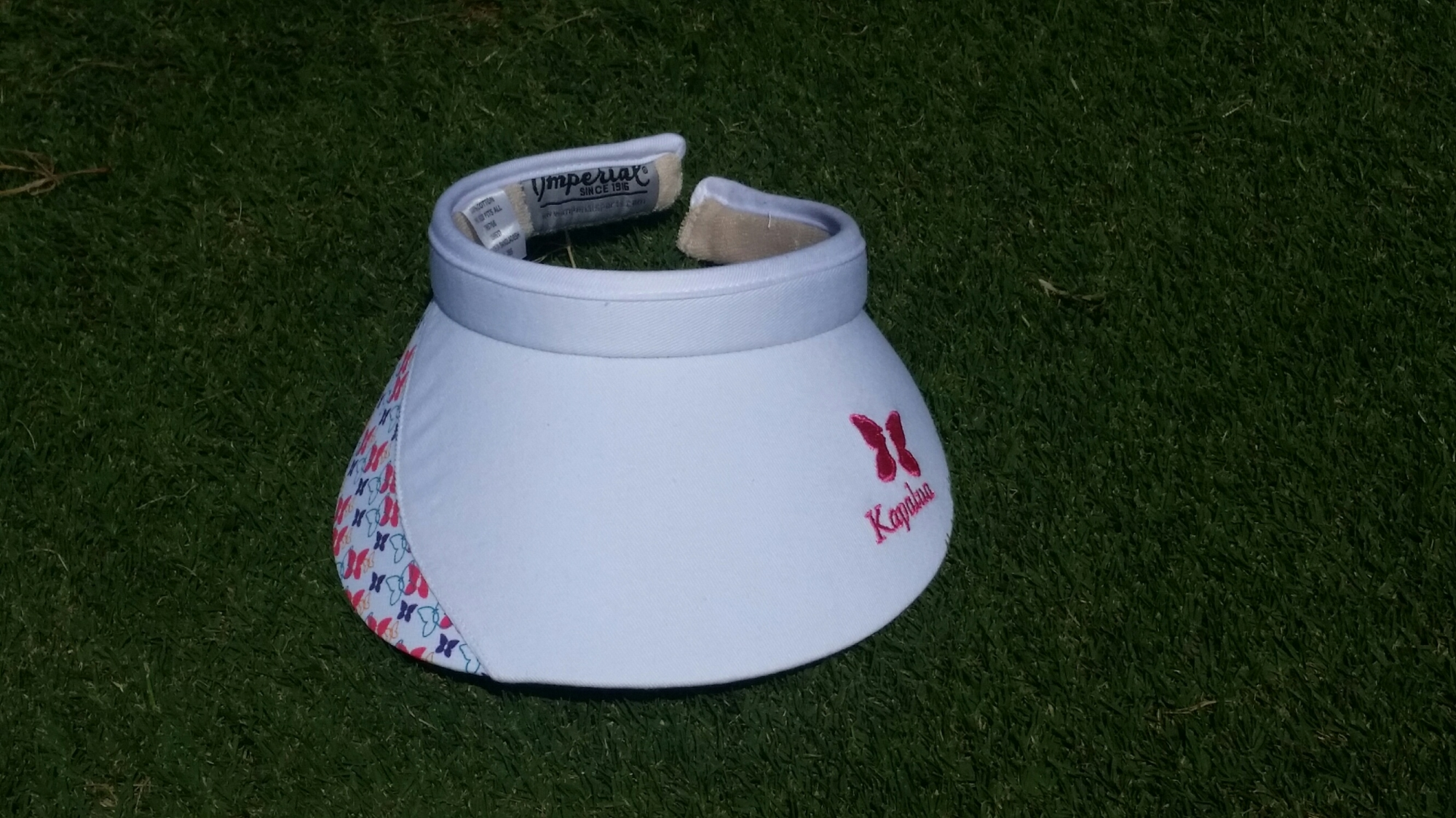 Womens Imperial Kapalua Visor - White with Butterfly pattern