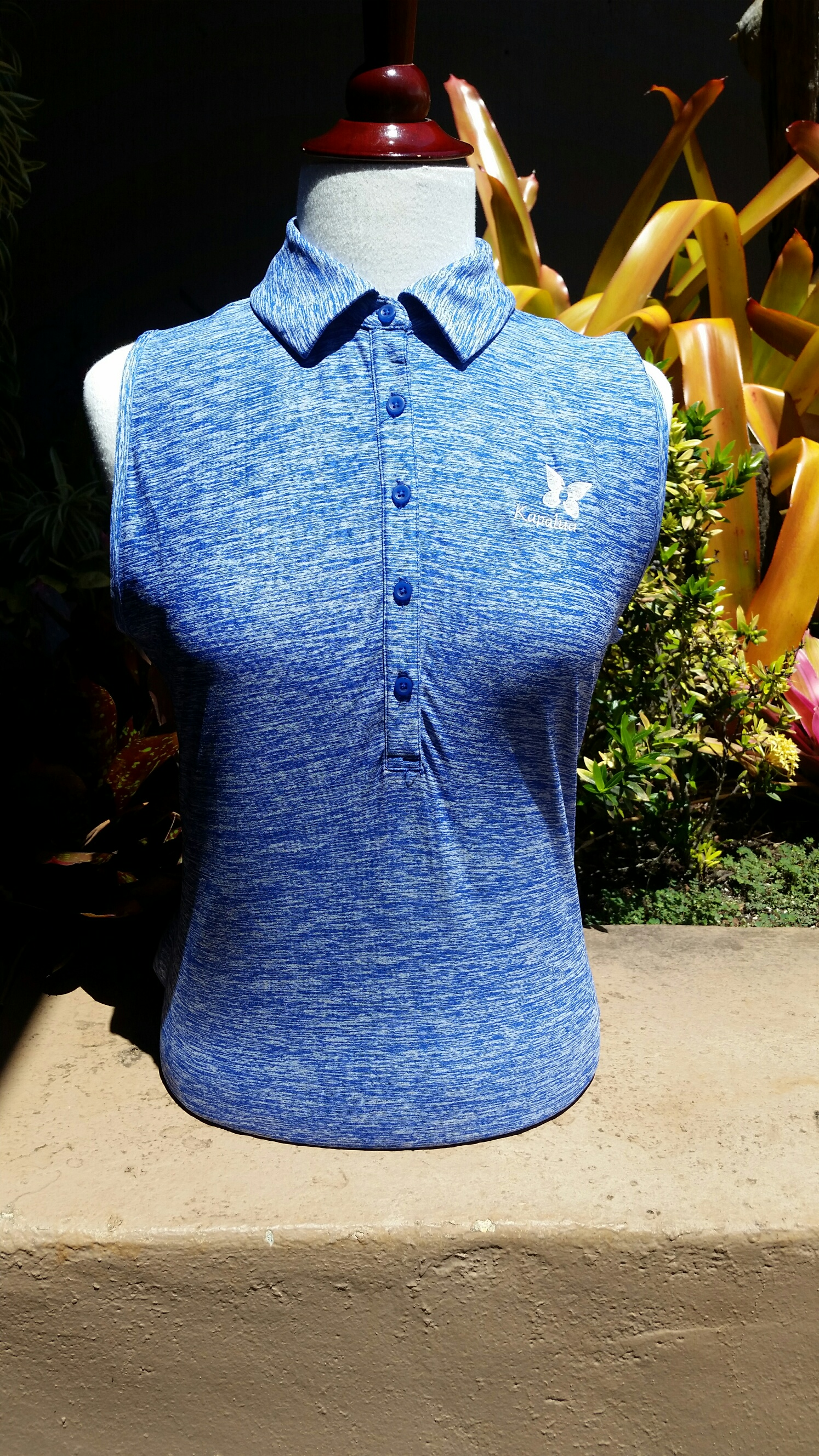 Womens Under Armour Sleeveless Polo Shirt - Heather Blue