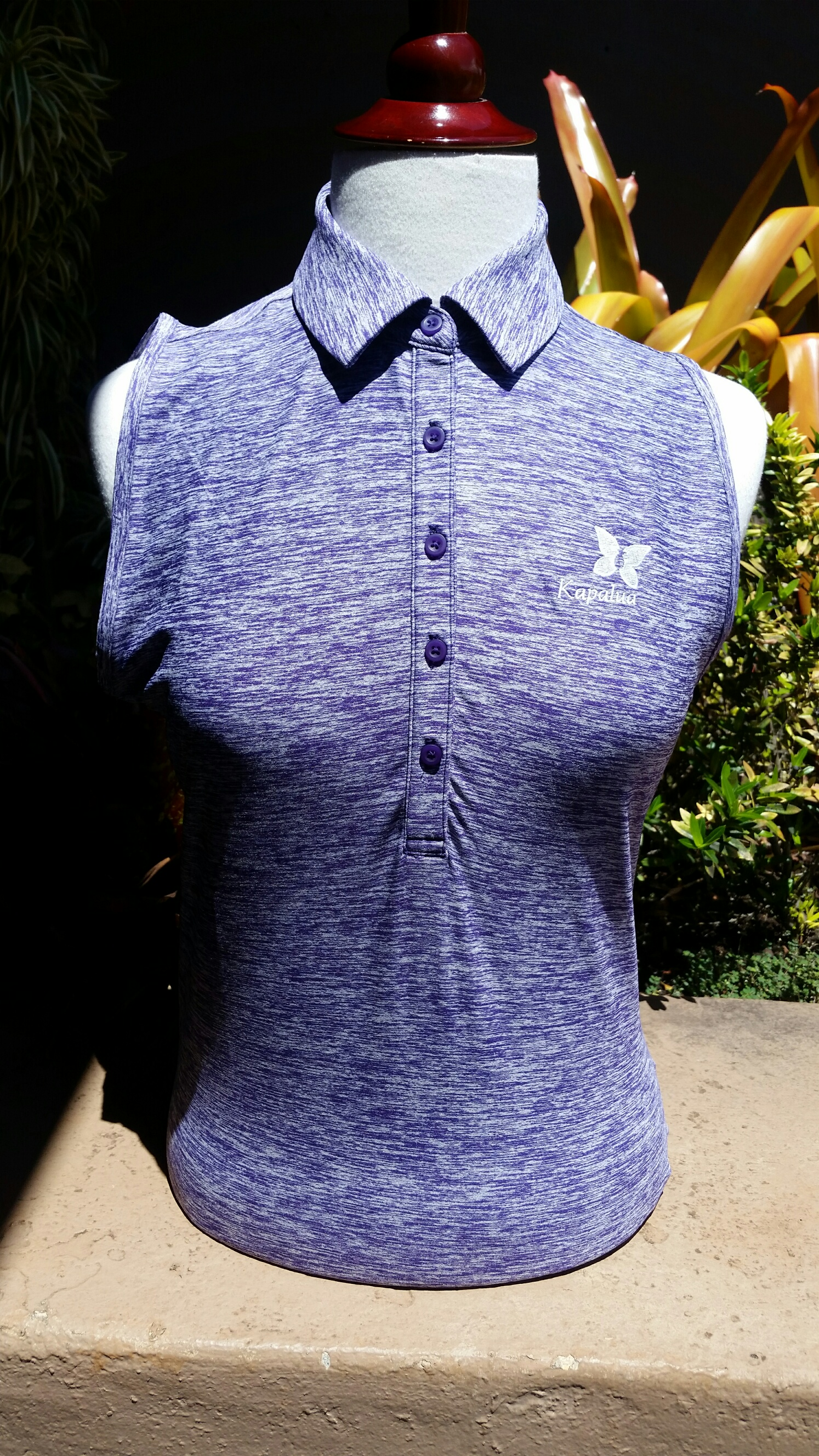 Womens Under Armour Sleeveless Polo Shirt - Heather Purple