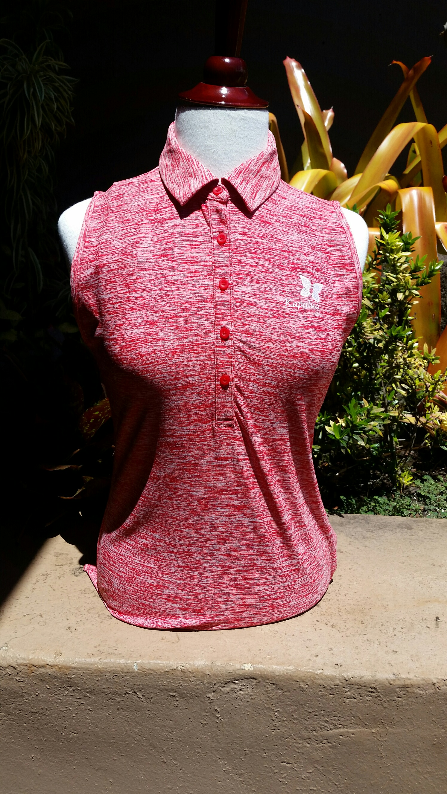Womens Under Armour Sleeveless Polo Shirt - Heather Red