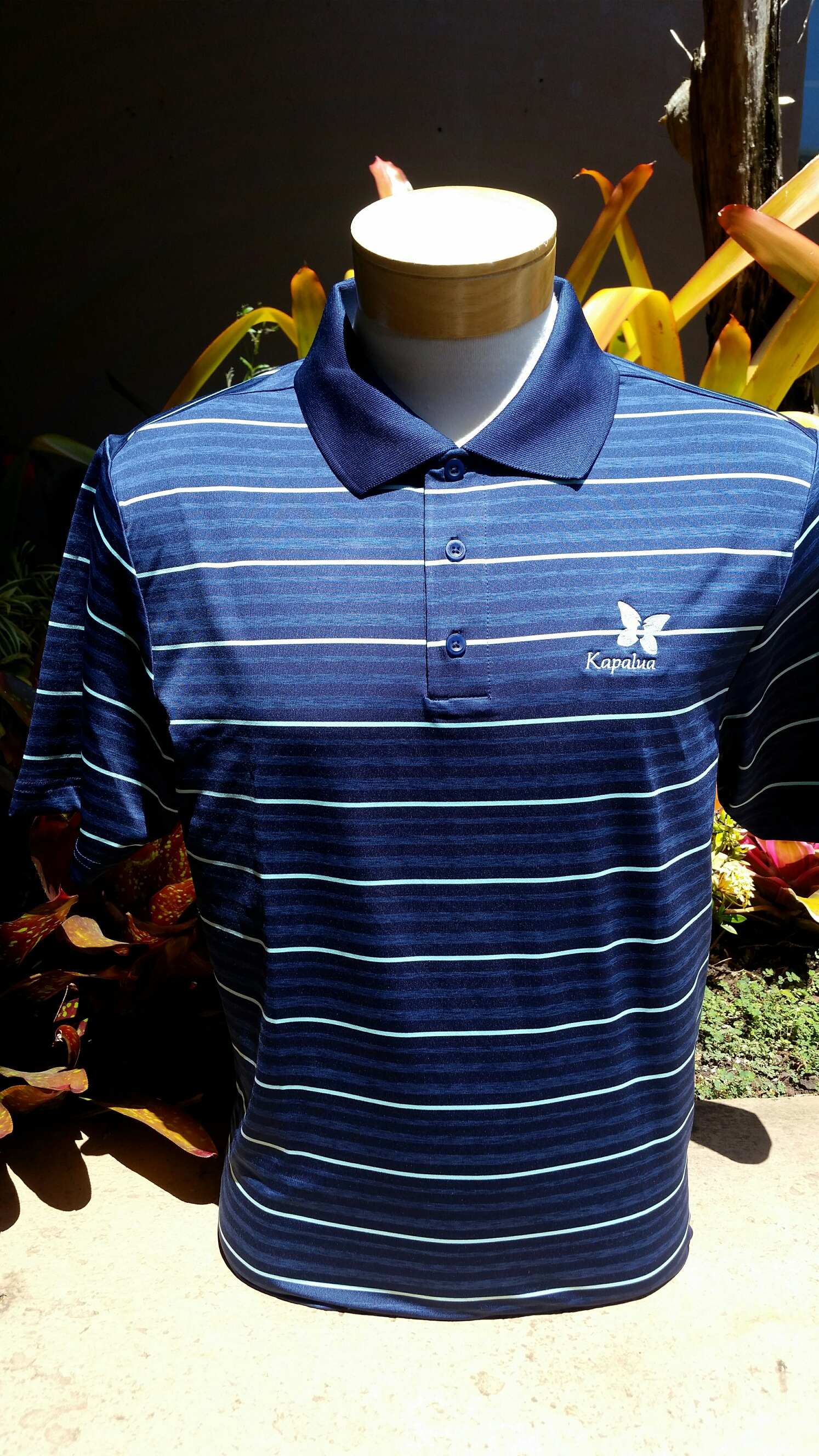 UA Mens Polo Shirt - Blue w/Mint & Blue stripes