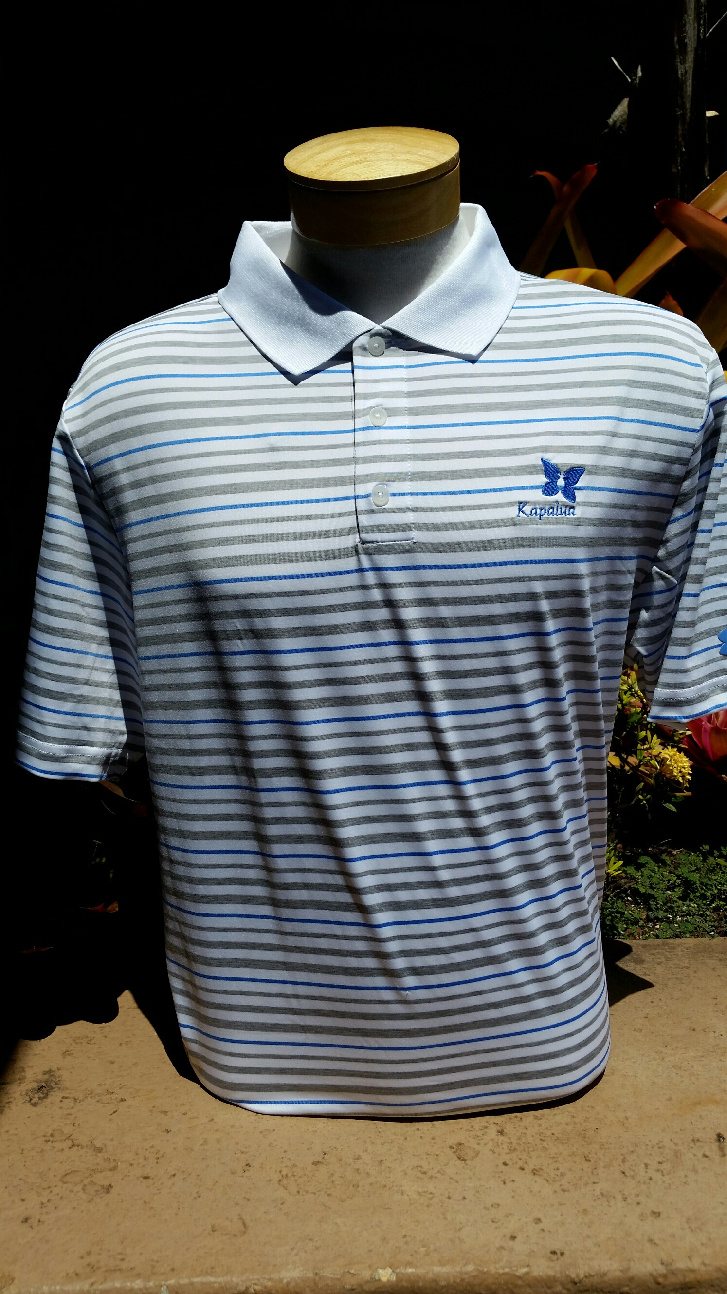 UA Mens Polo Shirt - White w/Blue & Gray stripes