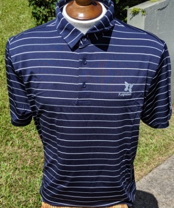 UA Mens Polo Shirt - Navy w/White & Gray stripes