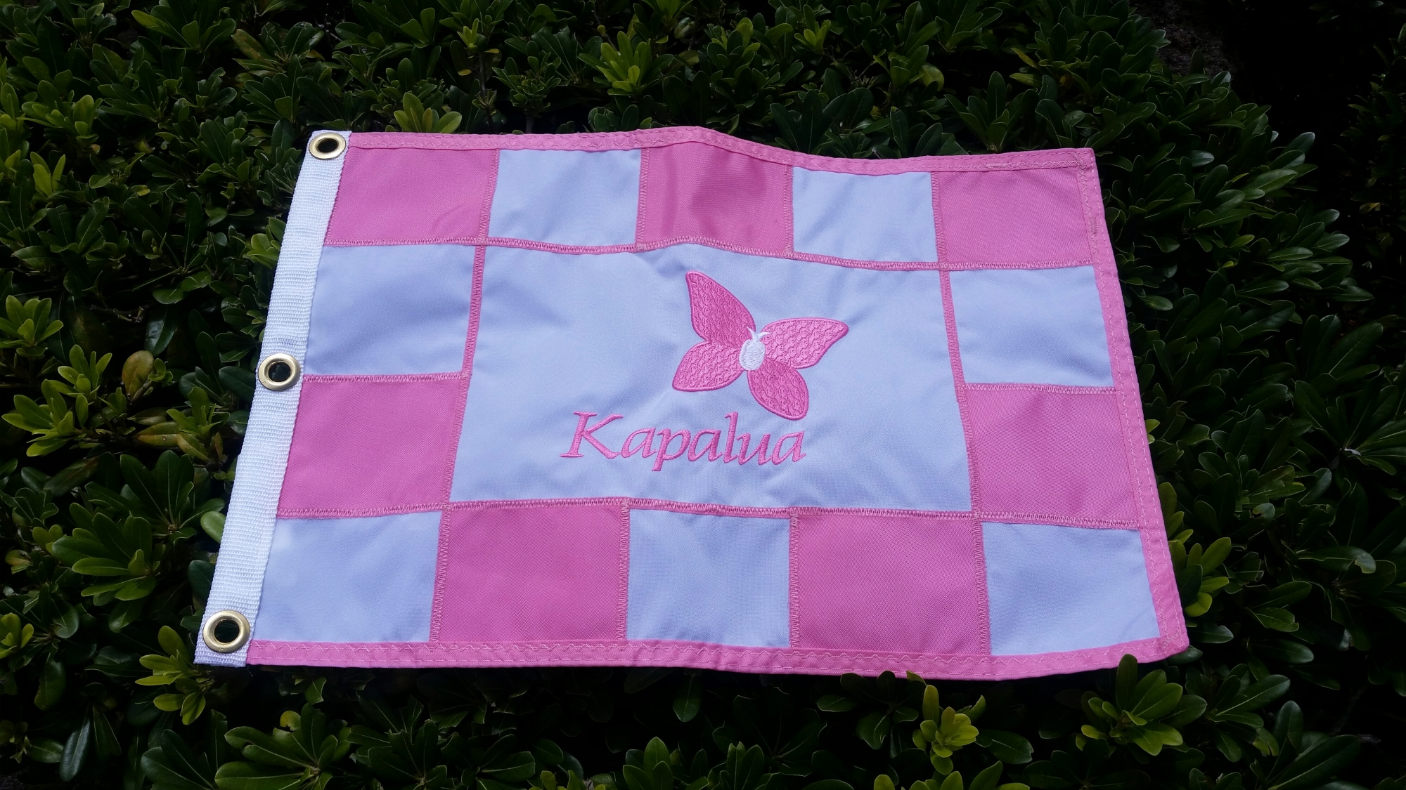 Checkered Pink Pin Flag