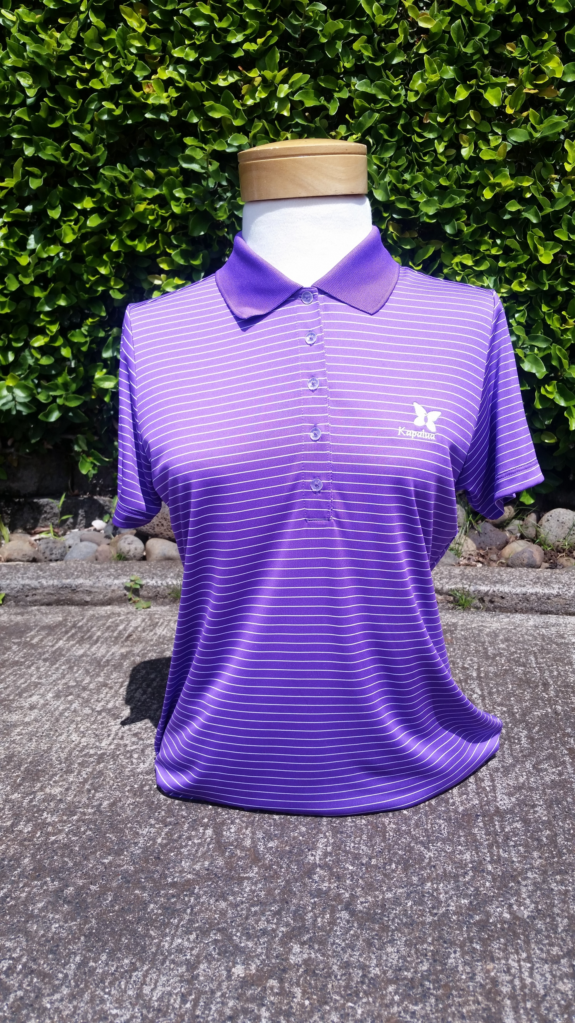 Womens Nike Purple and White Striped Polo