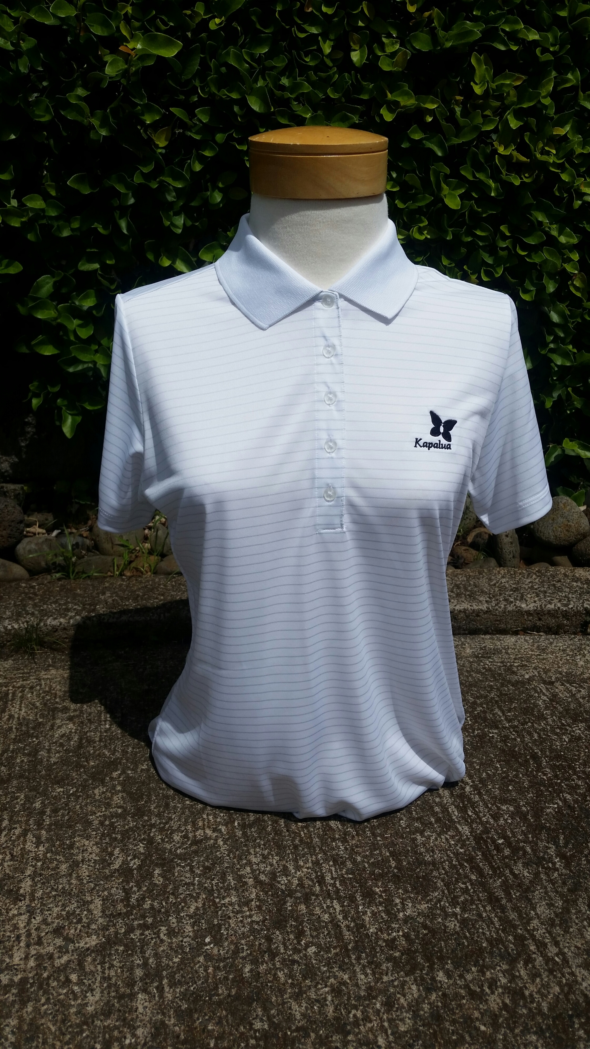 Womens Nike White and Gray Striped Polo