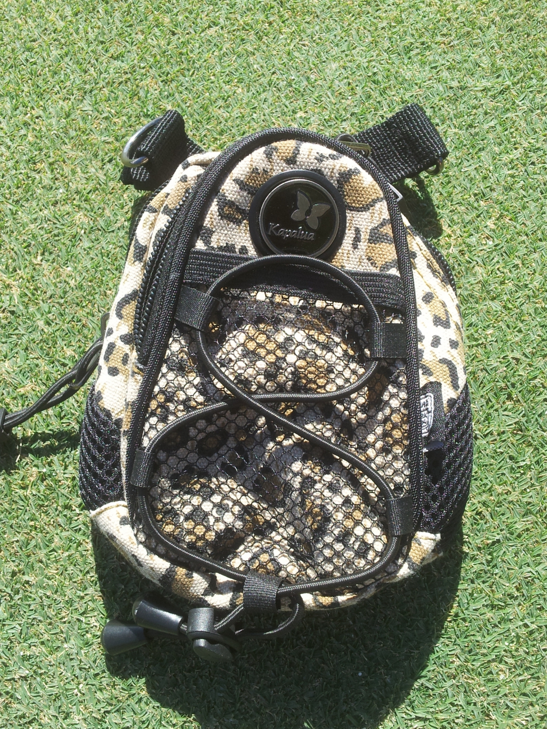 Leopard valuables pouch with strap