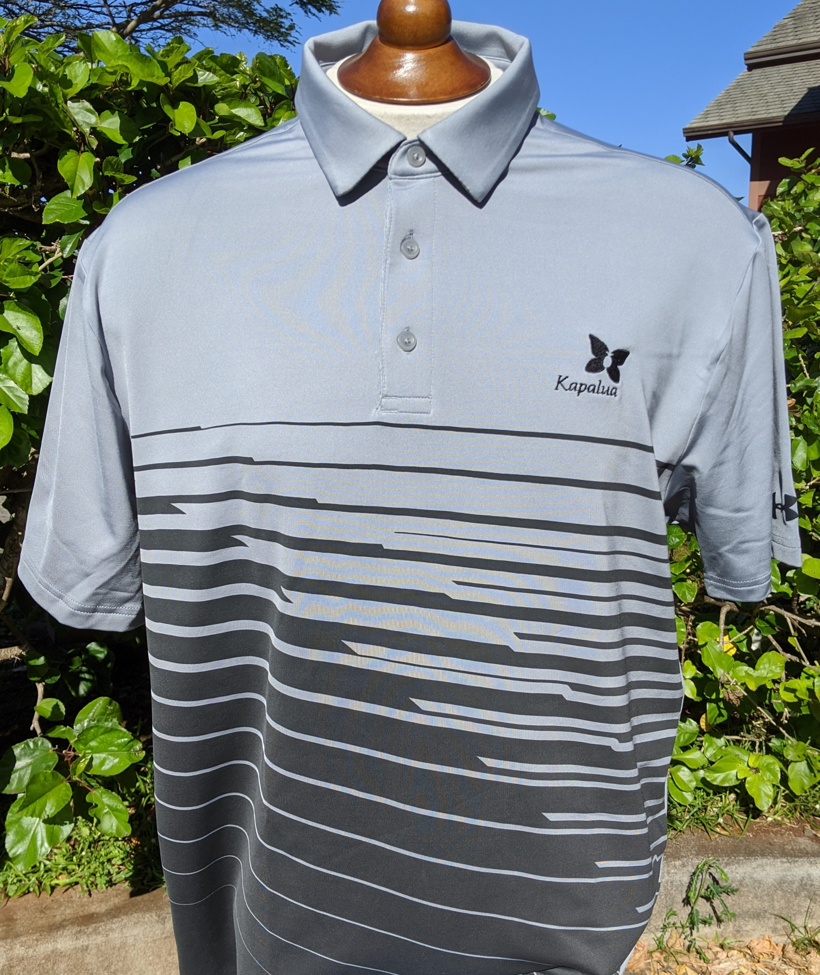 Under Armour Men's Polo Shirt - Gray with Black Stripes NO XL AVAILABLE