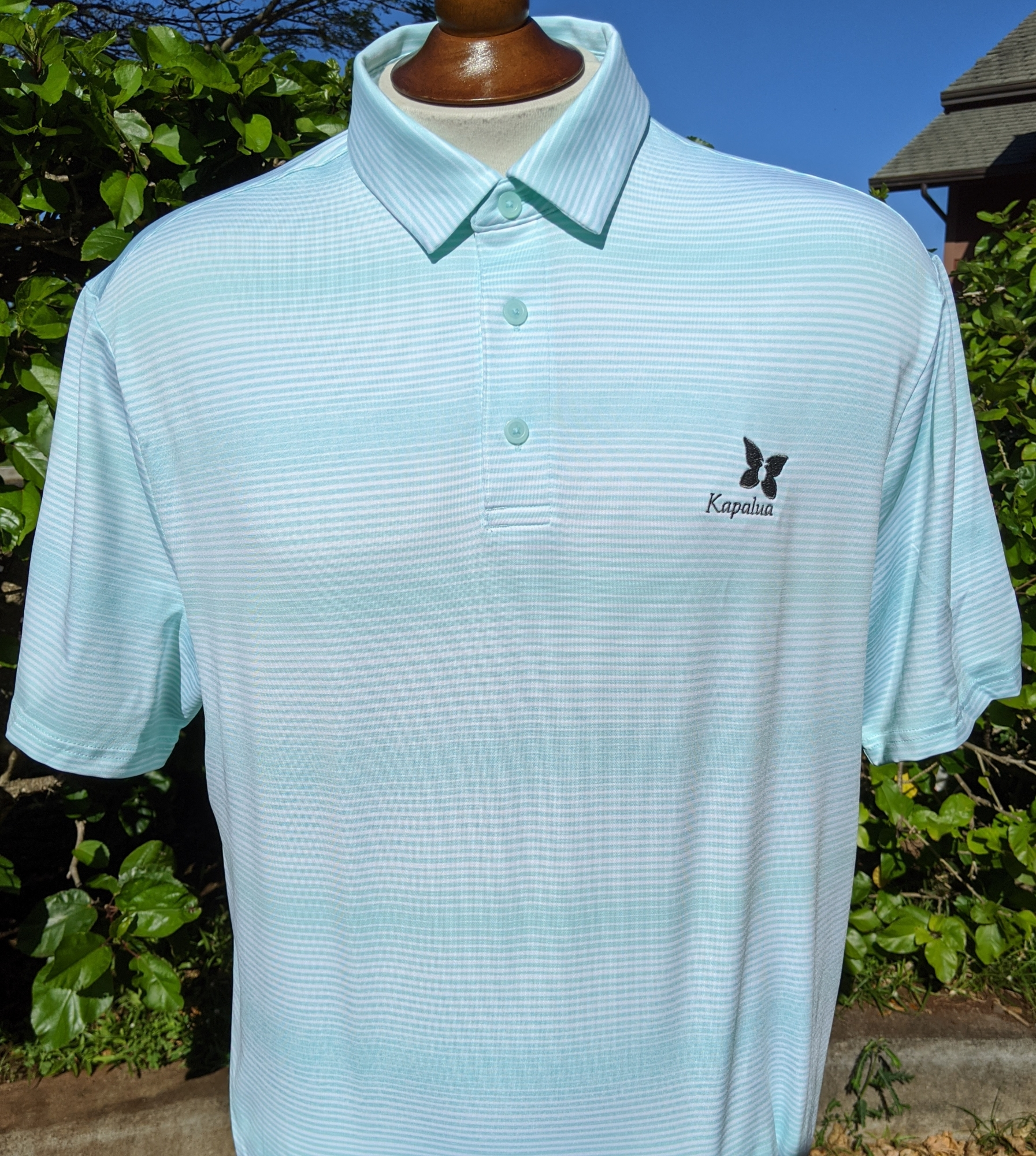 Under Armour Men's Polo Shirt - Mint with White Stripes NO LARGE OR XL AVAILABLE