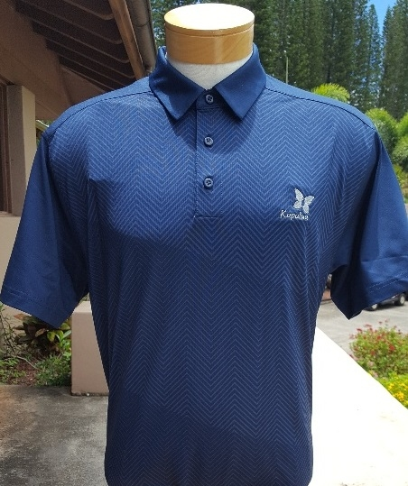 Under Armour Mens Polo Shirt - Blue with herringbone pattern