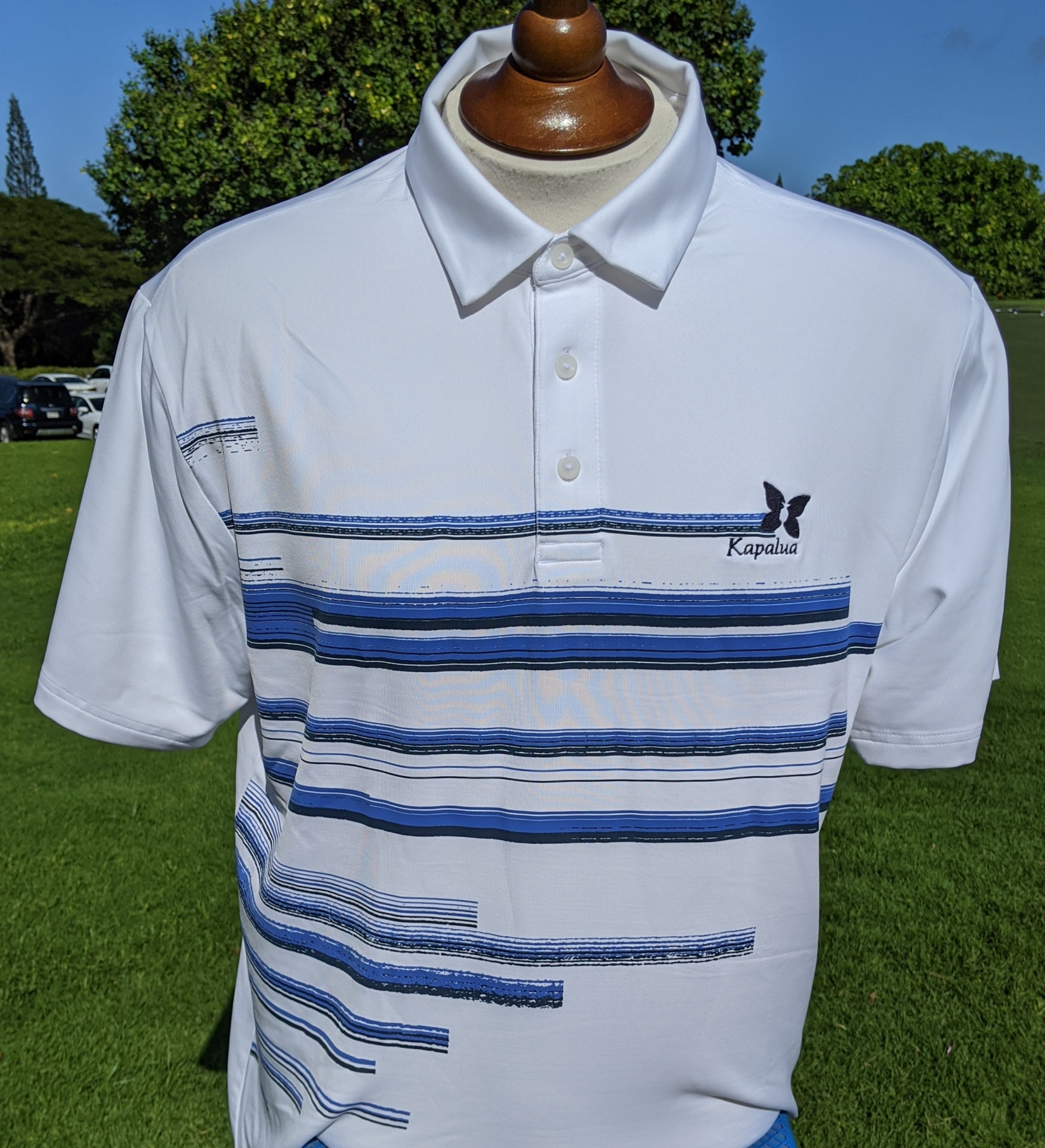 Under Armour Men's Polo Shirt - White with Blue Stripes