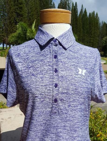 Womens Under Armour Sleeved Polo Shirt - Heather Purple