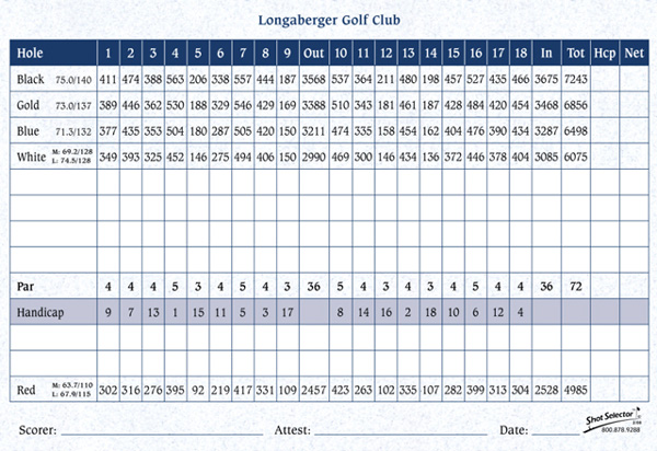 Longaberger Golf Club Scorecard