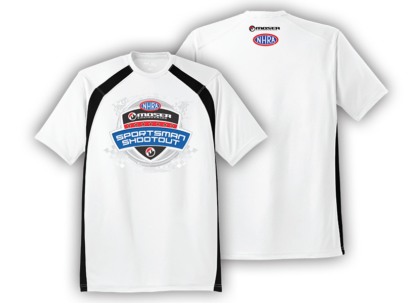 "Shirt 17 - ""Moser Sportsman Shootout"" white dry wick athletic shirt"