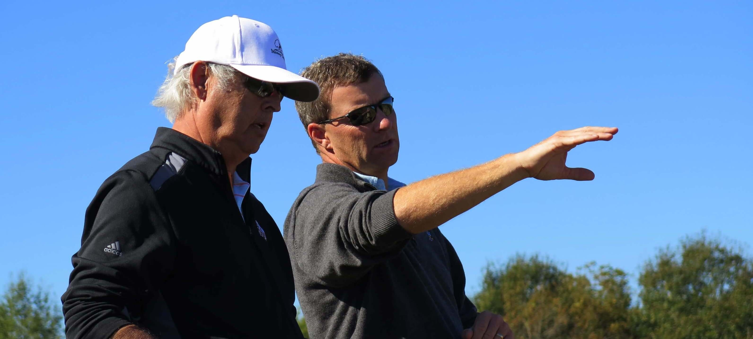 Architect Gil Hanse, right, and developer George Bryan are part of the Mossy Oak Golf Club project. (Martin Kaufmann)