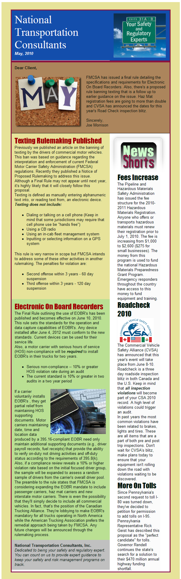 Electronic On Board Recorder Rule, Haz Mat Fees Increase, RoadCheck Dates