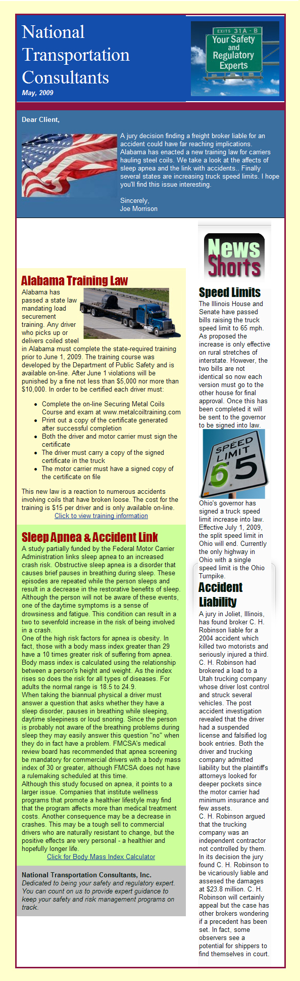 Accident Liability Expands, Sleep Apnea & Crashes, Alabama Enacts Training Law