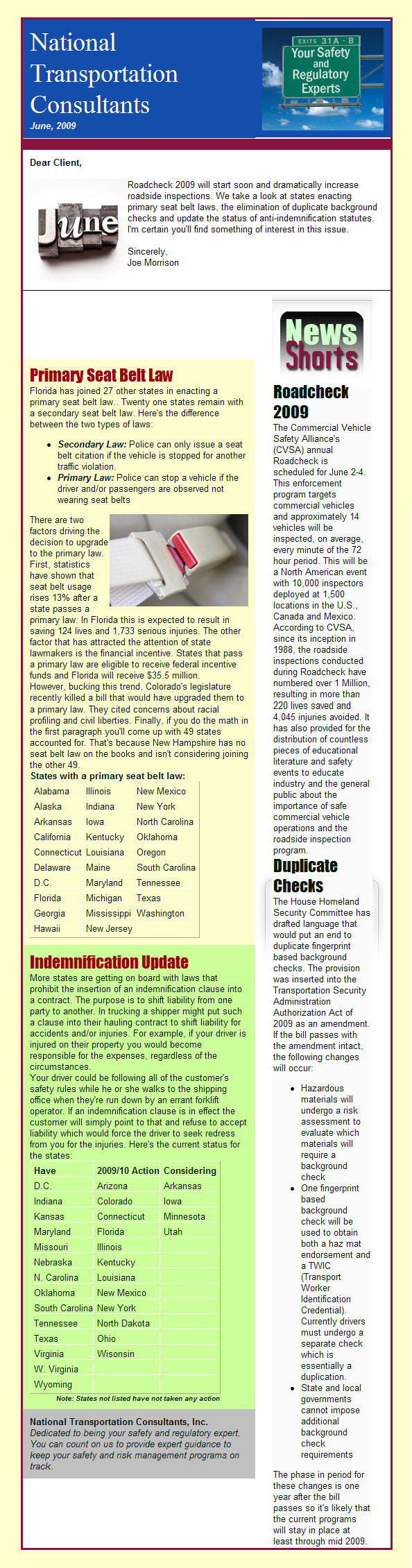 Roadcheck 2009, Primary Seat Belt Laws, Background Checks & More