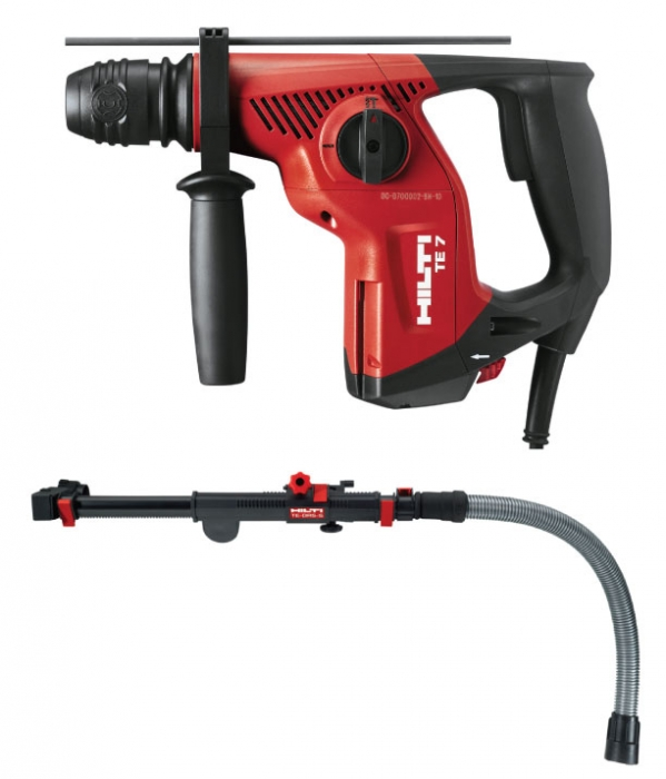 Hilti TE 7 Rotary Hammer with TE DRS-S Dust Control Attachment