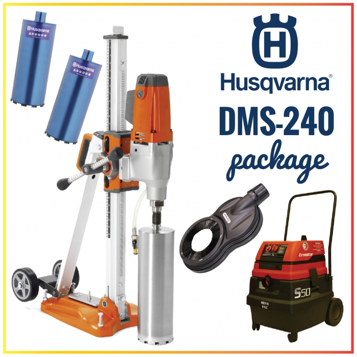 Husqvarna DMS-240 Stand-Up Core Drill with Vac Pump Package